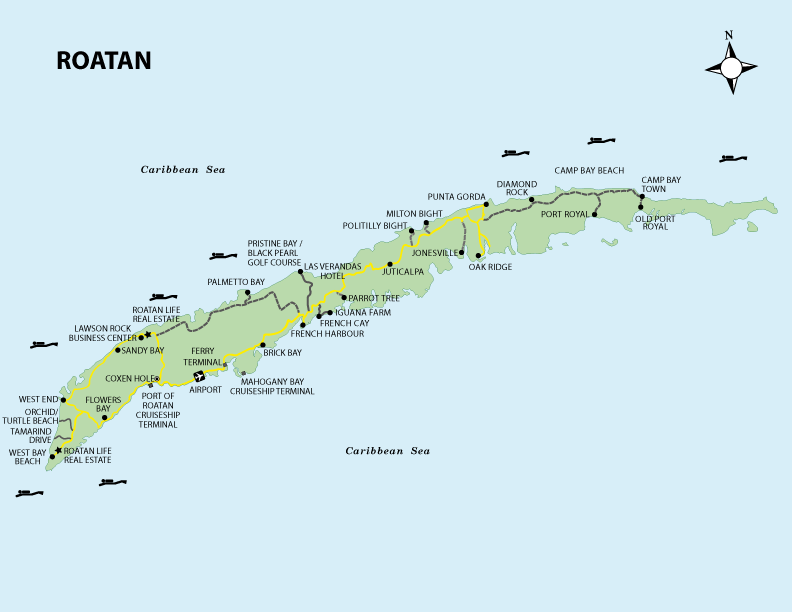 Roatan Honduras Map Roatan Maps | Roatan Honduras Travel Guide